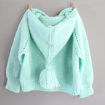 Hand Knitted Baby Toddler Hooded Cardigan Pastel Green Baby Shower Gift Handmade Cardigan Baby Sweater Size 12 to 24 months