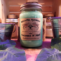 Cucumber N' Mint Natural Hand Poured Soy Candles