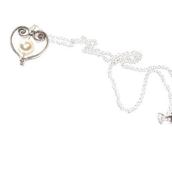 Swarovski Drop Pearl  Necklace , Silver Heart Pendant , Sterling Silver Chain , Gift For Her