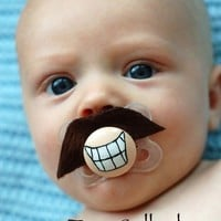 Tom Selleck- Hand Cut Custom Mustache Pacifier- Brown