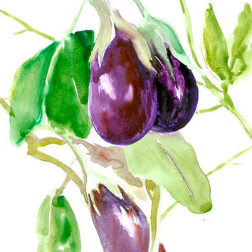 Eggplant art original watercolor 12 x 9 in kitchen wall vegan art