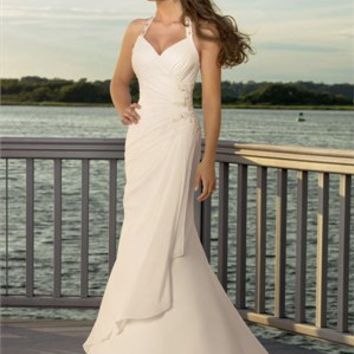 Sexy Deep V- neck With Halter Applique Chiffon Floor Length Wedding Dress WD1024