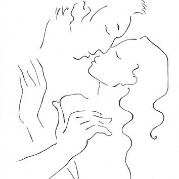 Original line art. Kiss drawing. Pen and ink illustration of a couple kissing. Minimalist lovers portrait sketch.