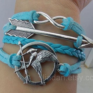 Hunger birds bracelet,games,Mockingjay pin,catching fire,couple bracelets, leather bracelets,hipsters jewelry,arrow,infinity,sky blue,charm