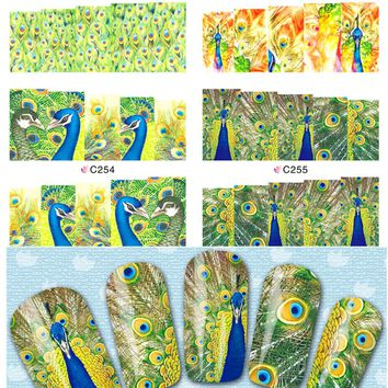 1sheets Fashion Designs Nail Art Sexy Peacock Colorful Feather Stickers Nail Decals Women Full Wraps Makeup Tools C252-255
