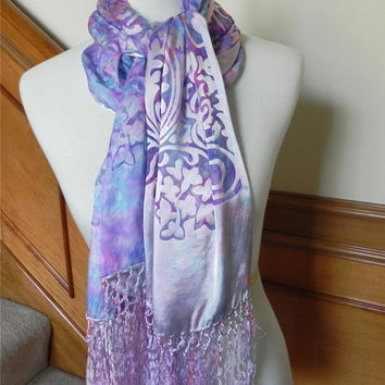 Hand dyed Devore satin silk shawl with fringe in magenta and turquoise, Devore satin silk scarf #379, ready to ship