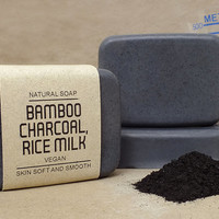 Bamboo charcoal and Rice milk soap, Vegan soap, Unscented and 100% Natural, Absorb toxins and other harmful substances from skin