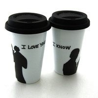 Star Wars (R) Han Solo and Leia I love You I know  Porcelain Travel Mug Set for Wedding or Anniversary