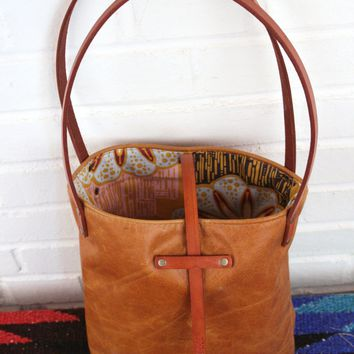 Small Leather Tote Bag (Lined Interior)