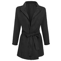 2017 Sale New Autumn Trench Coat Trench Coat For Women New Fashion Women Batwing Sleeve Front Open Outwear Tunic Solid Windbreak