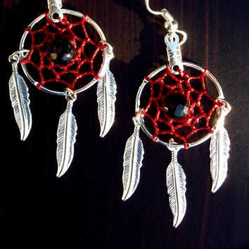 Dream catcher earrings in red and silver with black onyx, red dreamcatcher earrings with onyx, dream catcher earrings