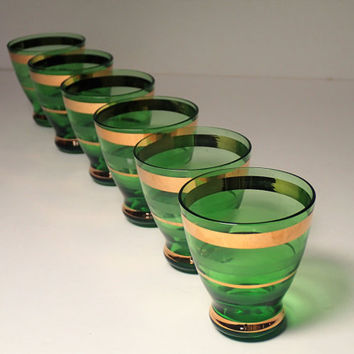 Bohemian Glass Cordial glasses Emerald Green with gilt gold trim - set of 6