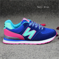 """""""New balance""""Running shoes leisure shoes gump sneakers lovers shoes n words Navy blue"""