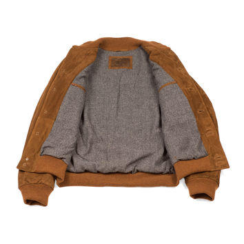 Tobacco brown lamb suede Valstarino bomber jacket, winter-lined