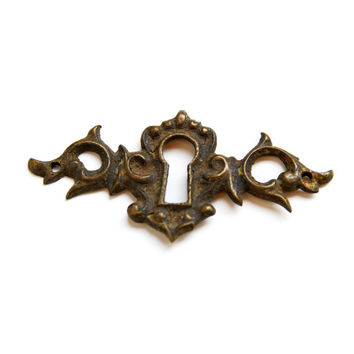 FREE SHIPPING Vintage Antique Brass KeyHole Escutcheon E1088