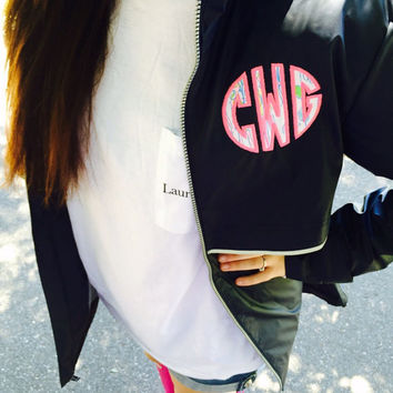 Preppy Charles River New Englander Rain Jacket with Lilly Pulitzer Double Monogram Wind Jacket