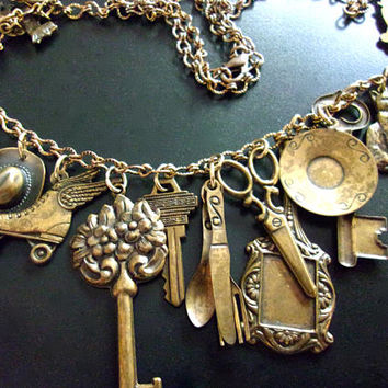 Brass Charm Necklace, Victorian Revival, 20 Variety Charms, Vintage