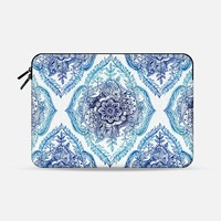 "Detailed Blue Ink Doodle Pattern Macbook 12"" sleeve by Micklyn Le Feuvre 