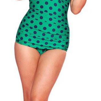 Esther Williams Green Swimsuit Blue Polka Dot One Pc Vintage 1950's Pinup E11006