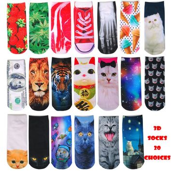 Cat Weed Fruit Tiger Desert Animal Low Cut Ankle Socks Funny Crazy Cool Novelty Cute Fun Funky Colorful