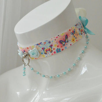 Butterfly rainbow - romantic fairy kei kawaii cute neko lolita ddlg kitten pet play collar with chains - pastel colorful