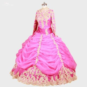 RSE49 High Neck Long Sleeve Fuschia Pink And Gold Lace Muslim Prom Dresses Ball Gowns