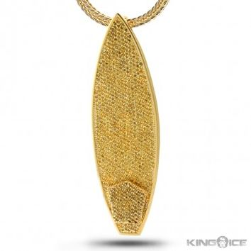 King Ice 14K Gold Yellow CZ Mini Surfboard Necklace | Hip Hop Jewelry | Urban Style Necklace