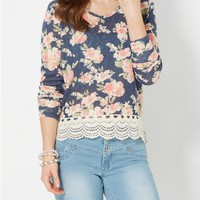 Navy Crochet Hem Rose Burnout Top
