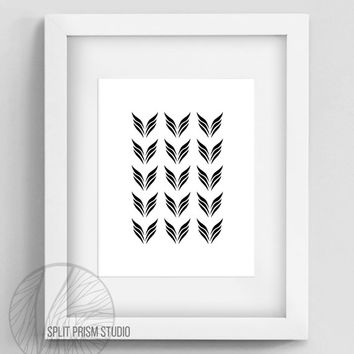 Original Art Print, Wings, Geometric Print, Art, Digital File, Wall Art, Black and White, Abstract, Modern Art, Instant Download, Pattern
