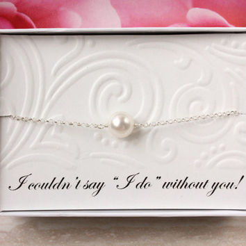 Gift for bridesmaids gift for maid of honor, best friend - Sterling silver bracelet with Swarovski pearl in a gift box bridal wedding party
