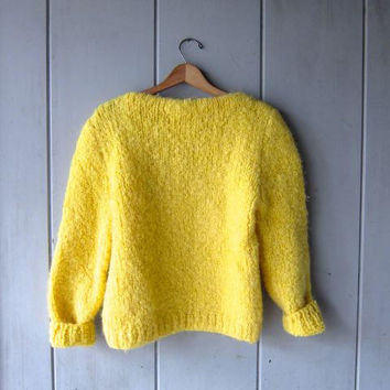 Super Chunky Knit Sweater Thick Yellow Knit Sweater Bulky Knit Pullover Cozy Hand Woven Spring Sweater Boat Neck Womens Small Medium