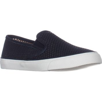Sperry Top-Sider Seaside Perforated Slip On Fashion Sneakers, Navy, 11 US / 42.5 EU