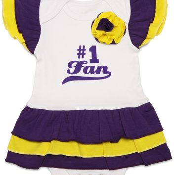 Purple & Gold #1 Fan Onesuit Dress (0-6 Months)