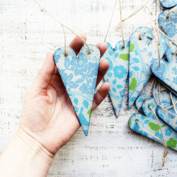 Wooden boho heart ornaments boho wedding favors bridal shower baby shower boho cottage chic aqua blue turquoise green brown grey