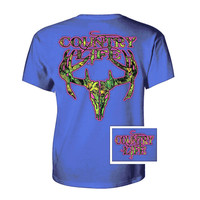 Country Life Outfitters Royal & Pink Camo Realtree Deer Skull Head Hunt Vintage Bright T Shirt