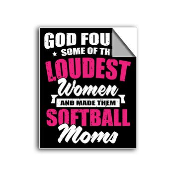 """FREE SHIPPING - """"Loudest Women - Softball Mom"""" Vinyl Decal Sticker (5"""" tall) - Limited Time Only!"""