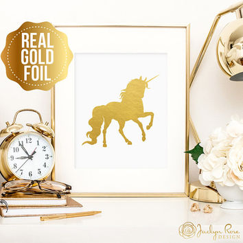 Unicorn print, real gold foil wall art, real gold foil print, minimalist art, gold foil unicorn art, bedroom decor, gift for unicorn lovers