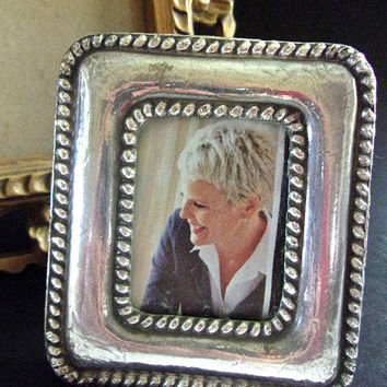 Sterling Silver & Wood Photo Frame from Peru, Rope Trim Accent, Vintage