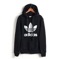 "Womens Black ""Adidas"" Print Hooded Pullover Tops Sweater Sweatshirts"