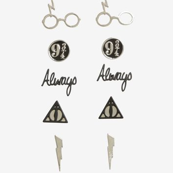 Licensed cool Harry Potter Deathly Hallows 5 Pair Post Insertion Earrings Symbols Always 9 3/4