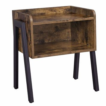 Wooden Stackable End Table with Inverted Iron Legs and Storage Compartment, Brown and Black