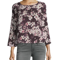 Cupcakes and Cashmere Jerrin Button-Down Back Floral-Print Blouse