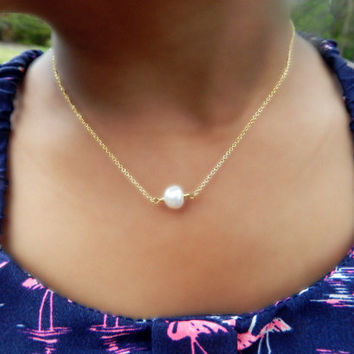 Little Girl 14kt Gold Fill Necklace with Freshwater Pearl, Tiny Gold Necklace, Tiny Pearl Necklace, Flower Girl Jewelry, Toddler Jewelry
