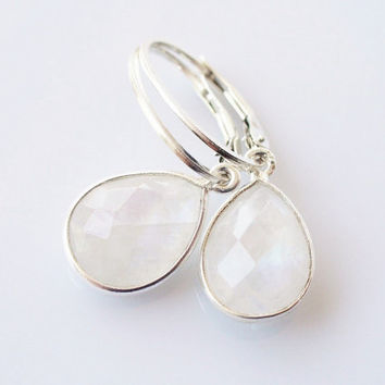 Rainbow Moonstone Drop Earrings, Sterling Silver Bezel Set Teardrop, Oval Leverback Earwires, Natural Faceted Gemstone, Iridescent White