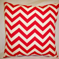 "Chevron Pillow - Red / Cream - 16"" x 16"""