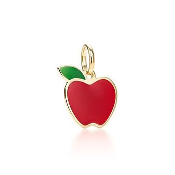 Tiffany & Co. -  Apple charm with red and green lacquer in 18k gold.