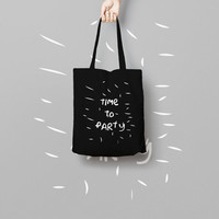 Time To Party Black Tote Bag Canvas Funny Totes - Party Market Bag Canvas - Printed Tote Bag Illustrated Hand Drawn - Funny Quote Tote Bag