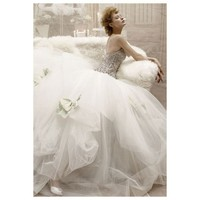 Ball Gown Spaghetti Beaded Satin Tule Wedding Dress - Star Bridal Apparel