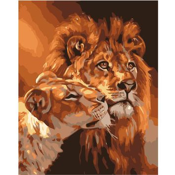 FGHGF Painting By Numbers Coloring By Numbers Home Decor Wall Art Pictures Canvas Lions Painting By Numbers Modular Pictures
