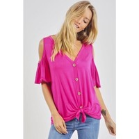 Cold Shoulder Buttoned Front Top with Tie Fuchsia